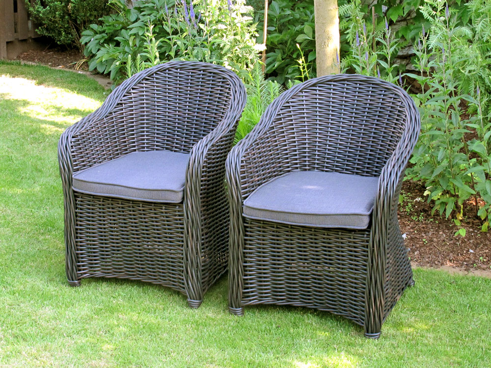 hochwertiger polyrattan sessel 2er set rundfaser rattan gartenm bel ebay. Black Bedroom Furniture Sets. Home Design Ideas