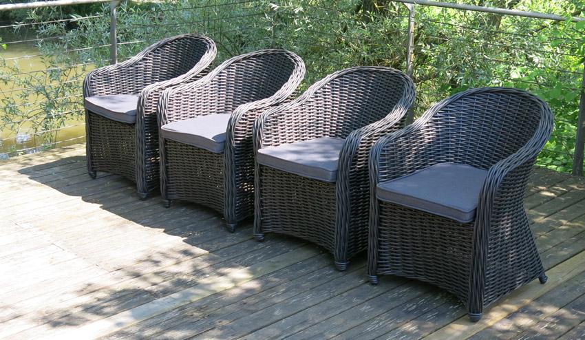 Hochwertiger Polyrattan Sessel   4er Set   Rundfaser Rattan