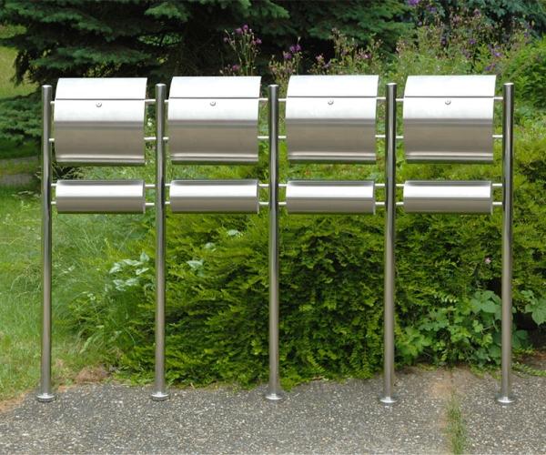 4er Edelstahl-Standbriefkasten RICO