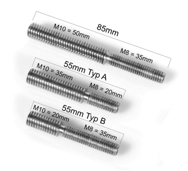 Edelstahl Gewindeadapter von M8 auf M10