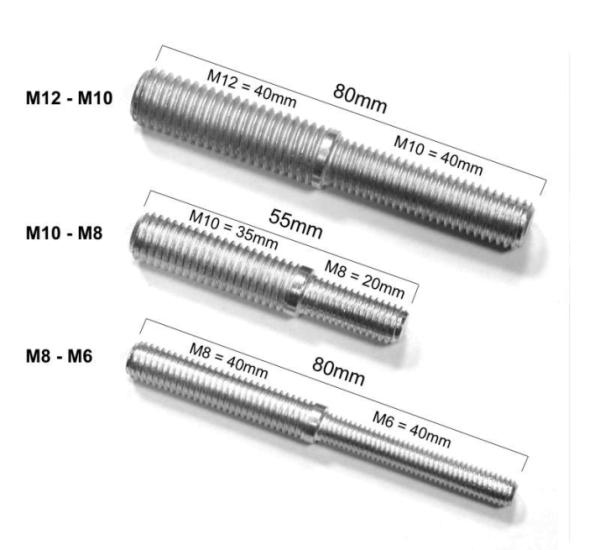 Gewindeadapter M6-M8 und M8-M10 und M10-M12