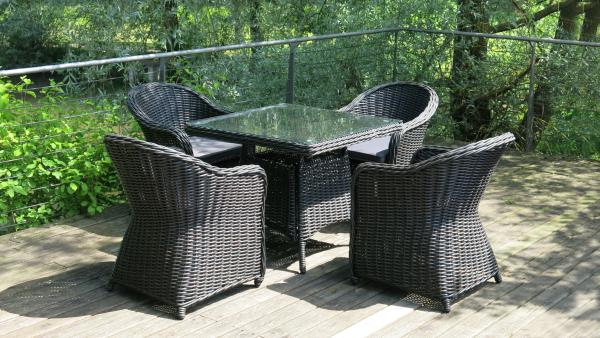Outdoor 4er Rattan-Tischset