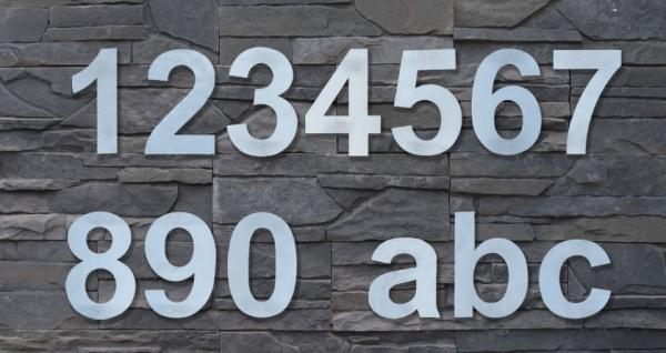 2x Edelstahl Hausnummern 16cm hoch