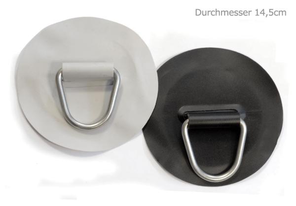 D-Ring Edelstahl auf PVC-Gewebe - Ø ca. 12 oder 14,5cm