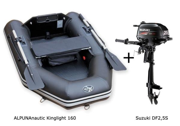 Kinglight 160 mit SUZUKI DF2,5S Außenbordmotor