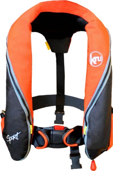 Kru Sport 185N Vollautomatik Rettungsweste mit Harness + Schrittgurt EN ISO 12402-3