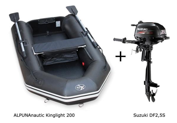 Kinglight 200 mit SUZUKI DF2,5S Außenbordmotor